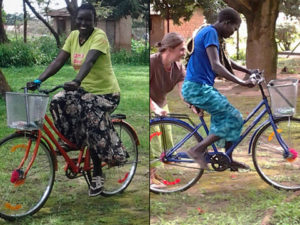 medical students riding bicycles for aid