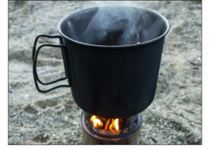 a hot outdoor cup of soup