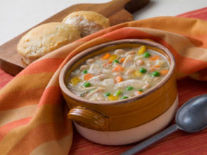 soup with bread and spoon