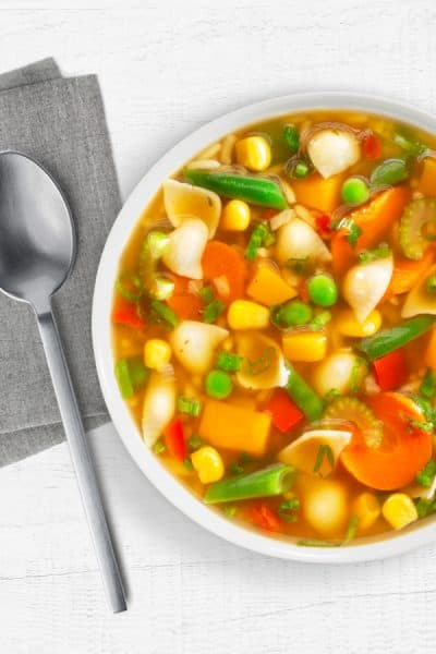 Ohio Valley Vegetable Soup with spoon and napkin