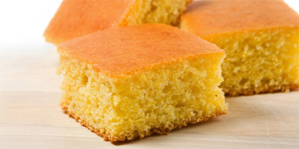 three squares of cornbread